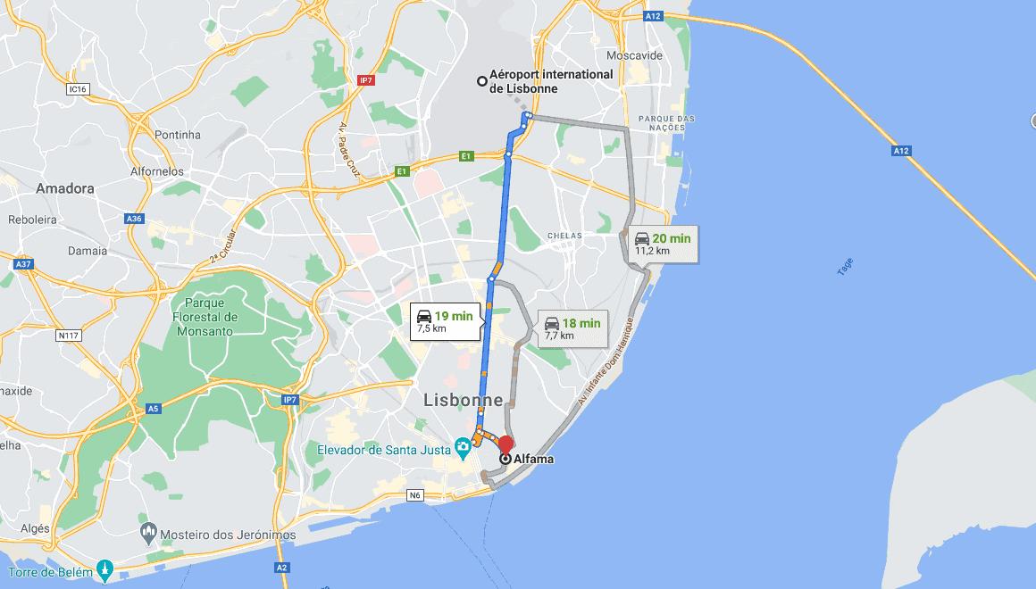 distance aeroport au centre ville