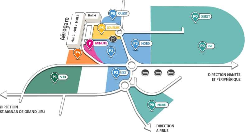 nantes plan parking aeroport